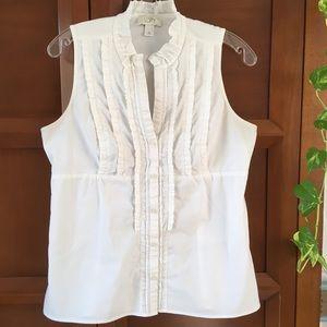 Loft White Sleeveless Button Up